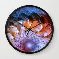 ferris wheel Wall Clocks featuring Ferris Wheel by Klara Acel