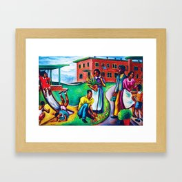 "African American Classical Masterpiece ""The Results of Good Housing"" by Hale Woodruff Framed Art Print"