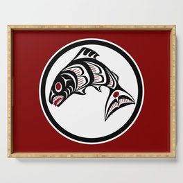 Northwest Pacific coast Haida art Salmon Serving Tray