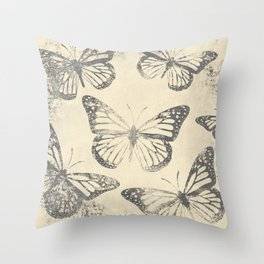 Old Newsprint Ink Paper Style Monarch Butterly Pattern Throw Pillow