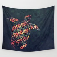 tortoise Wall Tapestries featuring The Pattern Tortoise by VessDSign