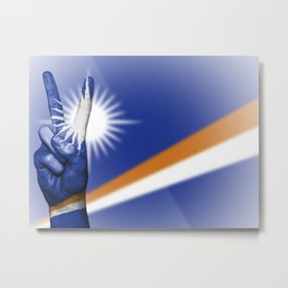 Marshall Islands flag and hand Metal Print