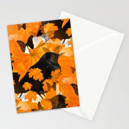 Beautiful Autumn Blackbirds with butterflies and Orange Maple Leaves #decor #society6 #buyart Stationery Cards