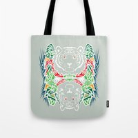 tigers Tote Bags featuring Tigers #2 by Ornaart