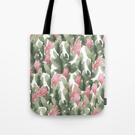 Watercolor pink gable green abstract cactus floral Tote Bag