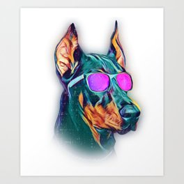 Doberman Pinscher Colorful Neon Dog Sunglasses Art Print