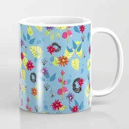 Snapdragons, Zinnias & Leaves on Blue Background-Large scale Coffee Mug
