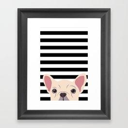 Peeking Frenchie Framed Art Print