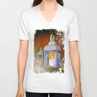 lanterns V-neck T-shirts featuring White lanterns by LaDa