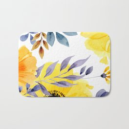 FLOWERS WATERCOLOR 10 Bath Mat