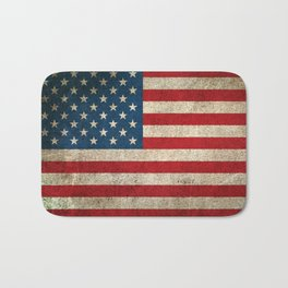 Old and Worn Distressed Vintage Flag of The United States Bath Mat