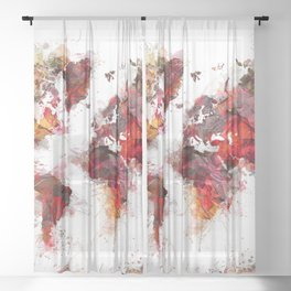World Map red flowers Sheer Curtain