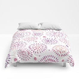 Abstract watercolor sparkles – pastel pink and ultra violet Comforters
