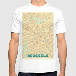 Brussels Map Retro T-shirt