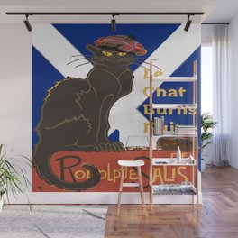 Le Chat Burns Nuit Haggis Dram Scottish Saltire Wall Mural