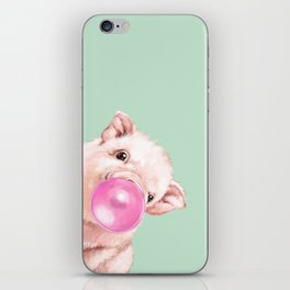 Bubble Gum Sneaky Baby Pig in Green iPhone Skin