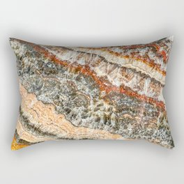 Agate Crystal III // Red Gray Black Yellow Orange Marbled Diamond Luxury Gemstone Rectangular Pillow