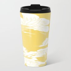 japanese flowers. Marigold Yellow Metal Travel Mug