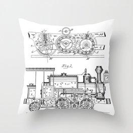 Steam Train Patent - Steam Locomotive Art - Black And White Throw Pillow