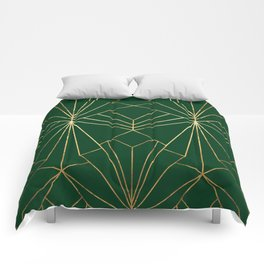 Art Deco in Gold & Green - Large Scale Comforters