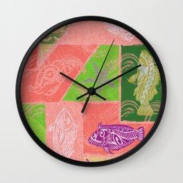 Vintage Hawaiian Polynesian Fish Collage Wall Clock