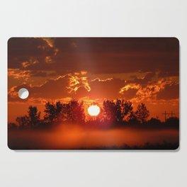 Flaming Horses over the Foggy Sunrise Cutting Board