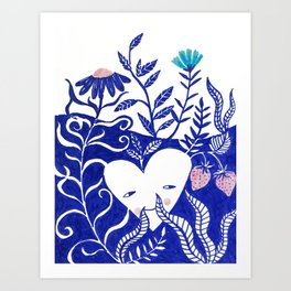 floral love blue heart illustration Art Print