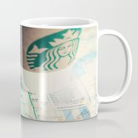 starbucks Mugs featuring Manhattan and Starbucks by Kim Fearheiley Photography