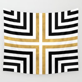 Simple Geometric Cross Pattern - White Gold on Black - Mix & Match with Simplicity of life Wall Tapestry