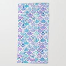 Mystical MERMAID DAYDREAMS Watercolor Scales Beach Towel