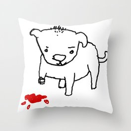poor dog Throw Pillow