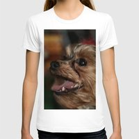 yorkie T-shirts featuring Christmas Grin by IowaShots