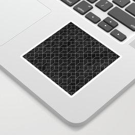 White Art Deco pattern on black ink Sticker