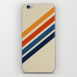 Rainbow 70s 60s Stripe Colorful Rainbow Tan Retro Vintage iPhone Skin