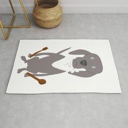 Weim Chef Grey Ghost Weimaraner Dog Hand-painted Pet Drawing Rug
