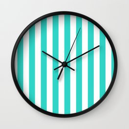 Narrow Vertical Stripes - White and Turquoise Wall Clock