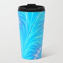 Abstract Aqua Blue Christmas Tree Branch with White Snowflakes Travel Mug