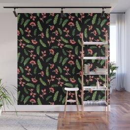 Black Hand Drawn Christmas Mistletoe Pattern Wall Mural