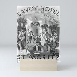 retro old Savoy Hotel St Moritz poster Mini Art Print