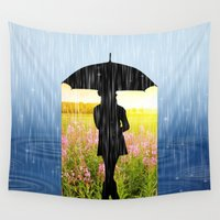 umbrella Wall Tapestries featuring Umbrella by Cs025