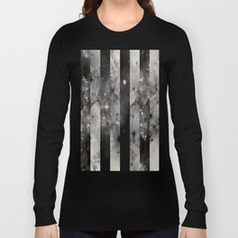 Stripes In Space - Black and white panel effect space scene Long Sleeve T-shirt