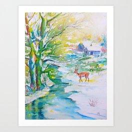 Winter landscape, snow stream and deer Art Print