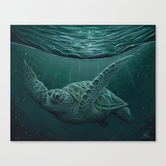 """""""Eclipse"""" by Amber Marine - Sea Turtle, Acrylic Painting, (c) 2015 Canvas Print"""