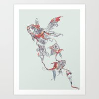 huebucket Art Prints featuring Floating in Deep by Huebucket