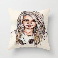 sky ferreira Throw Pillows featuring Sky Ferreira by vooce & kat