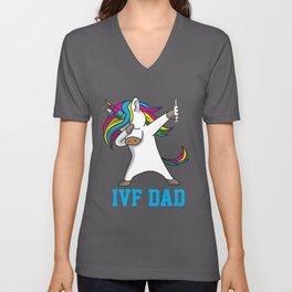 IVF Gift Warrior Dad Mom Daddy Transfer Day Infertility DA1 graphic Unisex V-Neck