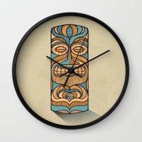 tiki Wall Clocks featuring Tiki by Brad Hansen