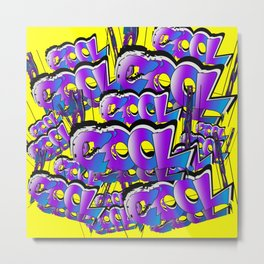 Cool Graffiti Typography Lettering Art / GFTTypography003 / Yellow Metal Print