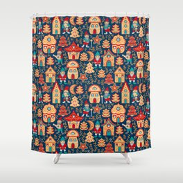 Fairy gnomes and magic houses.  Christmas trees, months and stars. Seamless Pattern in folk style. Shower Curtain