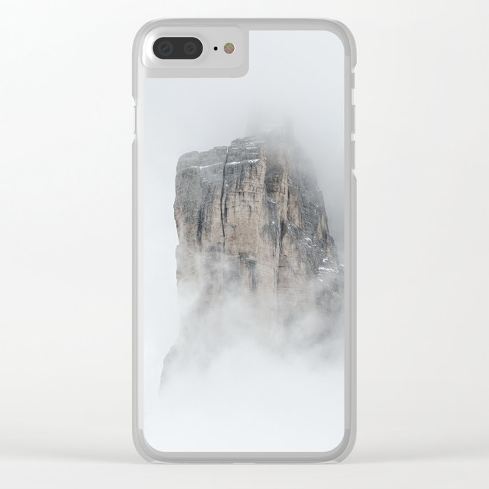Climbing a mountain in the clouds Clear iPhone Case